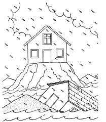 Matthew Sermon On The Mount Wise Foolish Builder Coloring Page