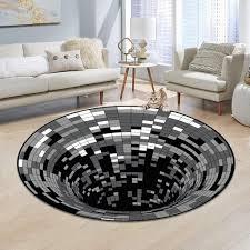 runder polyester schwarz weiß vortex teppich für wohnzimmer
