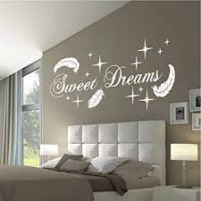 hometattoo wandtattoo wandaufkleber sweet dreams federn sterne deko schlafzimmer motiv 767 xl l x b ca 58 x 140 cm weiss 010