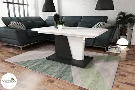 design couchtisch tisch grand noir weiß hochglanz schwarz matt stufenlos höhenverstellbar ausziehbar 120 bis 180cm esstisch
