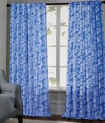 Jacobean Style Floral Curtains by Cynthia Rowley Blue Jacobean Floral Ikat Damask Window Curtain