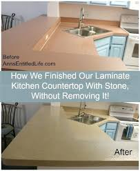 Linoleum Countertop Resurfacing Feat How We Finished Our Laminate Kitchen With Stone Without Removing It To