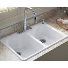kohler hartland 22 in x 33 in white double basin cast iron drop in