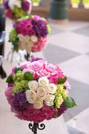 pink green purple Wedding aisle flower décor wedding ceremony