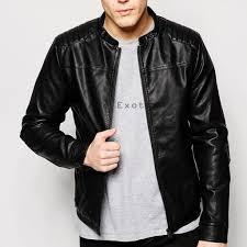 online men leather panel jacket stylish men leather panel jacket