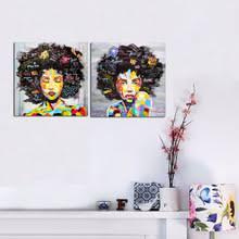 Pta149 Graffiti Art Queen Girl Painting Street Wall Modern African Women Portrait Canvas Printed Oil