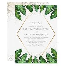 Gold Confetti Amp Tropical Palm Leaves Wedding Card