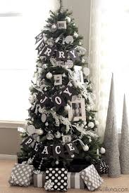 Black White Silver Christmas Tree Xmas Grey