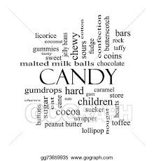 Clip Art Candy word cloud concept in black and white with great terms such as sweet store cane bars and more Stock Illustration gg