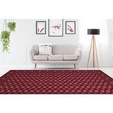 teppich klassisch orientalisch mit fransen wohnzimmer rot