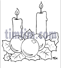 Free Drawing Of Christmas CANDLES BW From The Category ThanksGiving
