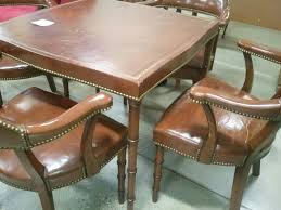 How Much Is My Barnard And Simonds Leather Card Table And ... 1940s Chinoiserie Mahjong Card Table Set 5 Pieces At 1stdibs Kitchen Design Lovetoknow Wooden Poker Chairs Antique Rare Vintage Set Of 4 Stakmore Folding Chairscarved Whiskey Barrel Back Swivel Base Exceptional Brassinlaid Or Gaming In The Neoclassic Manner Vintage 1940s Club Chair Expanding Tables Grow To Suit Needs Trader Why Phillipe Starcks Ghost Chair Is Here For Eternity Pair Armchairs Easy Attributed Jean Royere