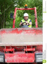 Dump Truck Driver On A Building Construction Site Stock Photo ...