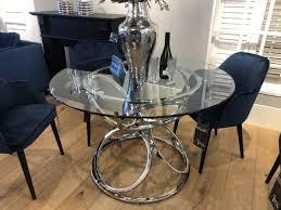 esstisch verchromt runder tisch silber glastisch rund