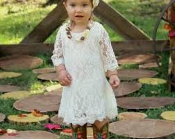 Simply Ivory Rustic Flower Girl Dress Lace Wedding