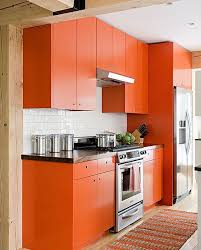 A Bold Orange Kitchen With Simple Modern Design Looks Cheerful And Fun