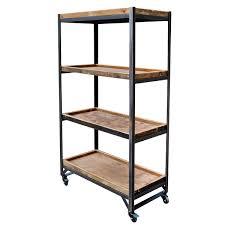 Retail Fixtures Shelf Trolley Unit With Wooden Trays On Castors Available At