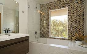 wave glass mosaic tile shower wall contemporary bathroom new