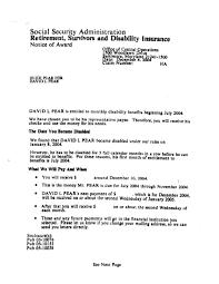 Social Security Disability Award Letter Copy
