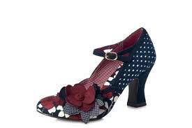 ruby shoo dee navy floral high heel mary jane shoes kissshoe