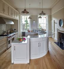 Colorful Farmhouse Kitchen Traditional With Curved Breakfast Bar Shaws Belfast Sink