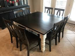 Custom 60 X Square Table With Baluster Turned Legs A Midnight Stained