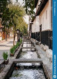 100 Houses F Old Japanese On Street And Small Natural Stream Of