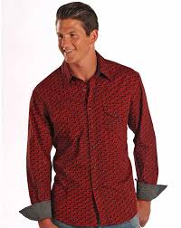 rock u0026 roll cowboy men u0027s long sleeve print snap shirt red