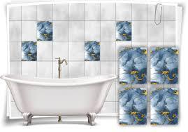 fliesen aufkleber folie marmor öl ölfarben abstrakt bad gold blau grau wc deko küche