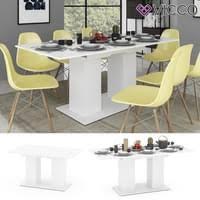 vicco esstisch dix 140 180 cm weiß matt esszimmertisch ausziehbar küche tisch