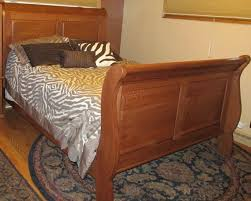 Hand Made Sleigh Bed Quarter Sawed Oak Queen Size King Size by