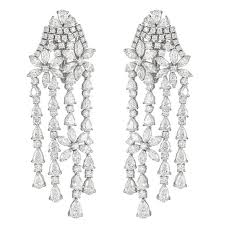 White Gold Chandelier Earrings With Round And Fancy Cut Diamonds Regard To