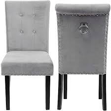 gototop 1 paar grau esszimmerstühle polsterstuhl lounge chair stuhl mit rückenlehne für wohnzimmer büro schlafzimmer esszimmer samtstoff 48 5 x 51 x