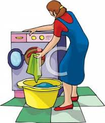 Clip Art Image A Woman Putting Clothes Into Washing Machine