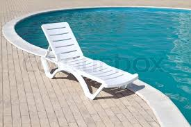 Swimming Pool Chairs Clean And Empty Resting Chair Stock Photo 3d