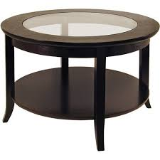 genoa round glass inset coffee table walmart com