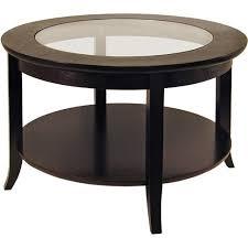 genoa round glass inset coffee table walmart com