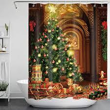 lb weihnachten duschvorhang 150x180cm grüner weihnachtsbaum braunbär bad vorhänge polyester wasserdicht anti schimmel badezimmer deko heimzubehör mit