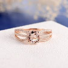 Morganite Engagement Ring Rose Gold Diamond Eternity Ring Split