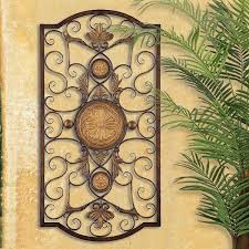 LARGE TUSCAN DECOR SCROLL WROUGHT IRON METAL WALL GRILLE GRILL ART PLAQUE