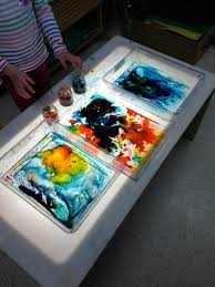 Kids Art Activity Color Mixing Experiment On The Light Table Using Karo Syrup And Food