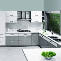 Silver Sleek Sophisticated C Shaped Kitchen Design