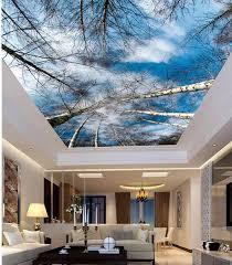 wand dekoration 3d wallpaper natur sky birke decke 3d tapete für moderne wohnzimmer decke