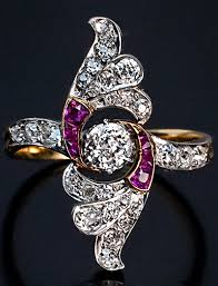 deco ruby and ring vintage deco rings and ruby wing ring antique