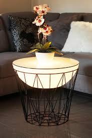 design korbtisch beleuchtet couchtisch beistelltisch led mit glasplatte