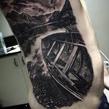 Guys Nature Scene Side Tattoo