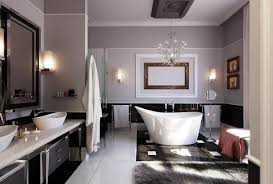 Modern Chandelier Over Bathtub by Beautiful Luxury Bathrooms
