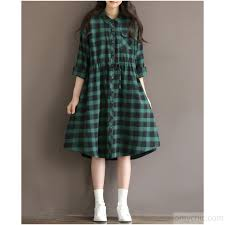 retro green plaid cotton shirt dress plus size cotton dresses long