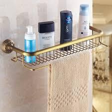 einstöckiges duschregal antikem messing für badezimmer wandmontage