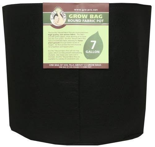 Gro Pro Round Fabric Pot - Black, 7gal